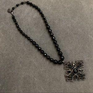 Ben Amun black beaded silver cross necklace goth